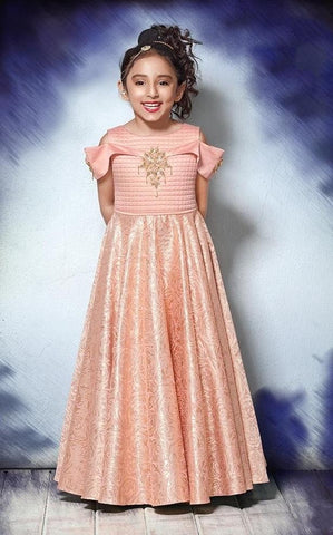 Pastel Pink Color Sumilon Jacquard Girls Stitched Gown - af-98045