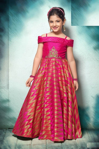 Lotus Pink Color Sumilon Jacquard Girls Stitched Gown - af-98047