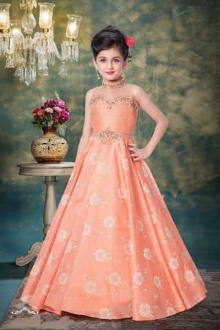 Parasol Peach Color Mastani Jacquard Girls Stitched Gown - af-98059