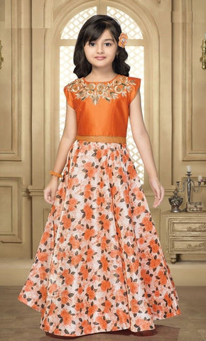 Strawberry Color Bride Banarasi Girls Stitched Gown - af-98060