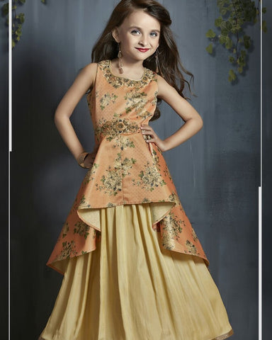 Orange Unique Color Phontam Satin Girls Stitched Gown - af-98064