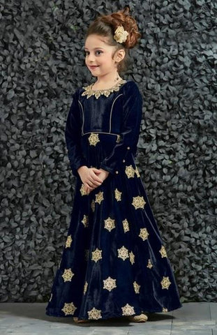 Navy Blue Color India Velvet Girls Stitched Gown - af-98065