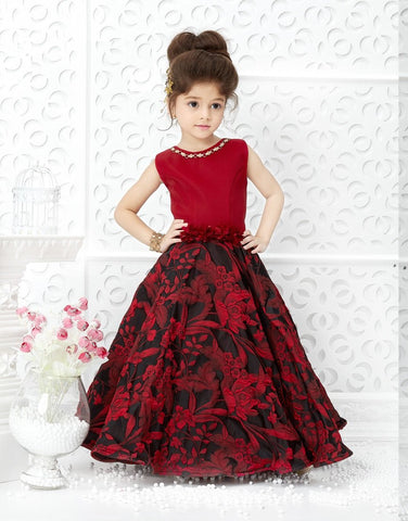 Blood Red Color Jacquard Scuba Girls Stitched Gown - af-98067