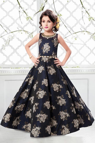 Navy Blue Color Sumilon Jacquard Girls Stitched Gown - af-98068