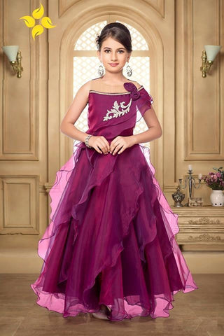 Wine Color Organza Girls Stitched Gown - af-98070