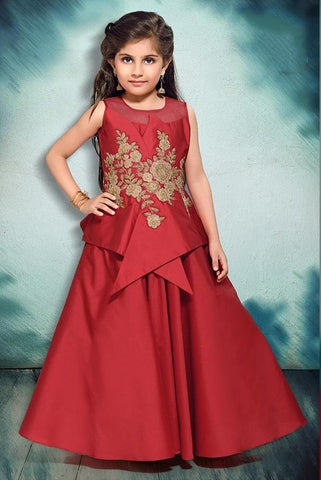 Maroon Color Canton Silk Girls Stitched Gown - af-98072