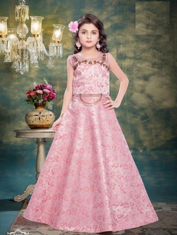 Light Pink Color Pure Jacquard Girls Stitched Gown - af-98073