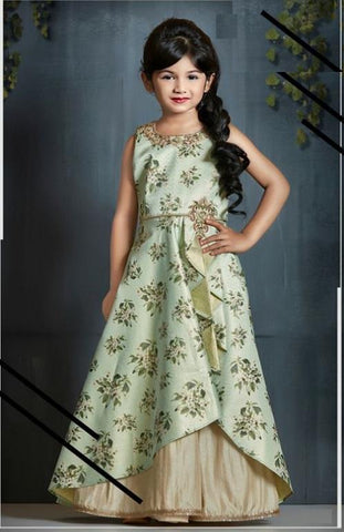 Olive Green Color Malai Satin Girls Stitched Gown - af-98074