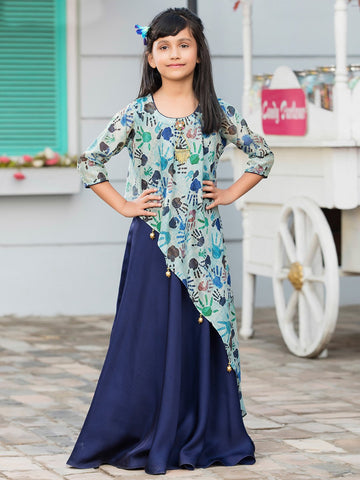 Blue And Navy Blue Color Malai Satin Girls Stitched Gown - af-98076