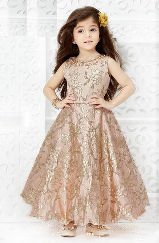 Cream Color Jacquard Girls Stitched Gown - af-98077
