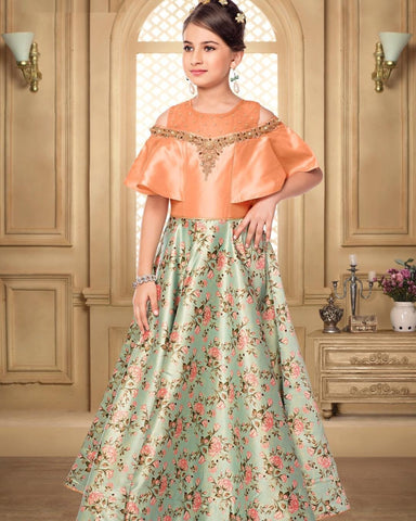Orange Color Malai Satin Girls Stitched Gown - af-98078