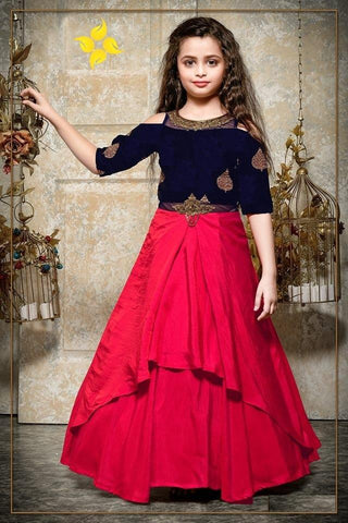 Navy Blue And Rose Pink Color Velvet And Malai Satin Girls Stitched Gown - af-98081