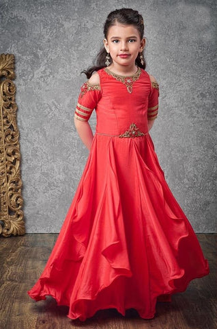 Red Color Paper Silk Girls Stitched Gown - af-98083
