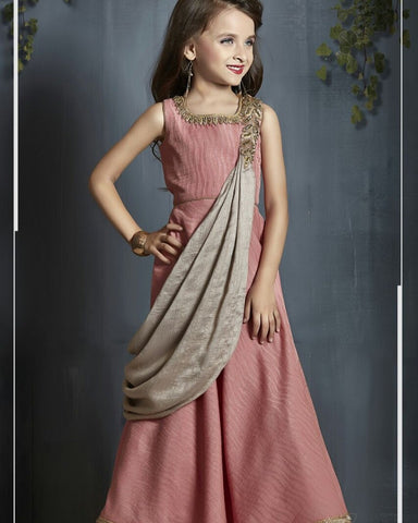 Rouge And Silver Color Malai Satin Girls Stitched Gown - af-98084