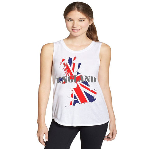 White Color Polyster Women Tank Top - aflvw-03-england
