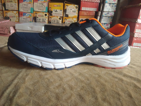 Navy Blue and Orange Color Mash Cloth and Net  Men's Shoe - ahuja-14