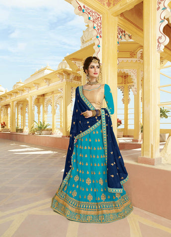 Sky Blue Color Heavy Georgette Semi-Stitched Lehenga  - alisha-10682
