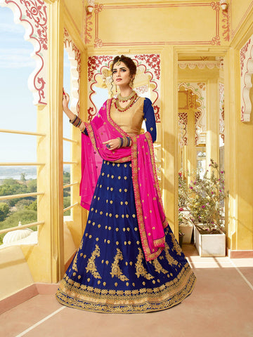 Navy Blue Color Heavy Georgette Semi-Stitched Lehenga  - alisha-10687
