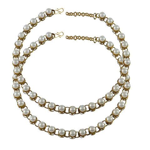 White Color  Moti-Gold Platted Brass Anklets - ank119