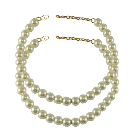 White Color Moti-Gold Platted Brass Anklets - ank127