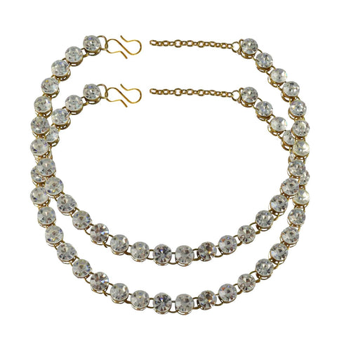 White Color Stone Stud-Gold Platted Brass Anklets - ank129