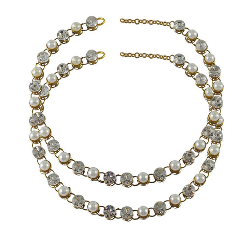 White Color Stone Stud-Gold Platted Brass Anklets - ank134
