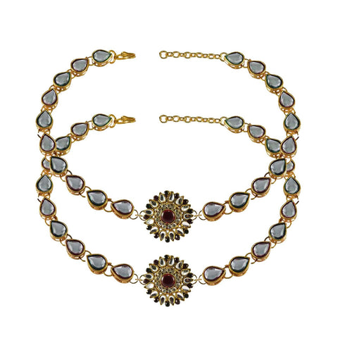 White Color Stone Stud-Gold Platted Brass Anklets - ank167