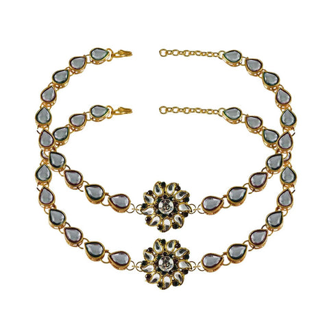 White Color Stone Stud-Gold Platted Brass Anklets - ank168