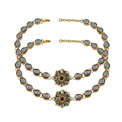 White Color Stone Stud-Gold Platted Brass Anklets - ank169