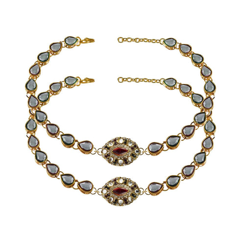White Color Stone Stud-Gold Platted Brass Anklets - ank170