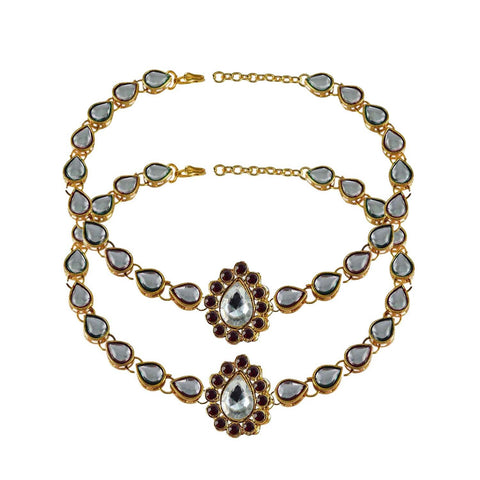 White Color Stone Stud-Gold Platted Brass Anklets - ank181