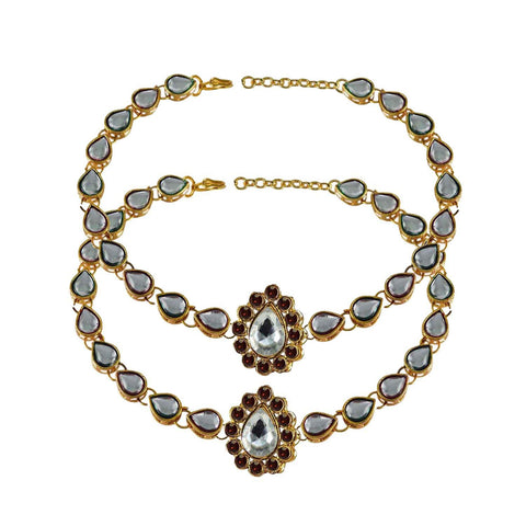 White Color Stone Stud-Gold Platted Brass Anklets - ank183