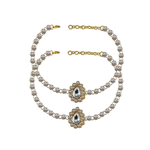 White Color Stone Stud-Gold Platted Brass Anklets - ank195