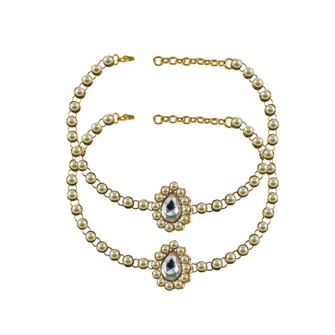 White Color  Moti-Gold Platted Brass Anklets - ank209