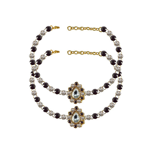 Multi Color Stone Stud-Gold Platted Brass Anklets - ank230