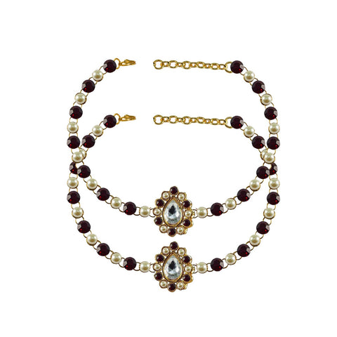 Multi Color Stone Stud-Gold Platted Brass Anklets - ank235