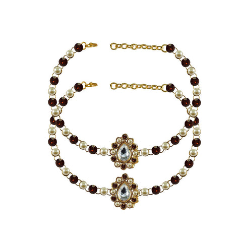 Multi Color Stone Stud-Gold Platted Brass Anklets - ank239