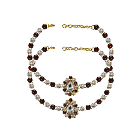Multi Color Stone Stud-Gold Platted Brass Anklets - ank240