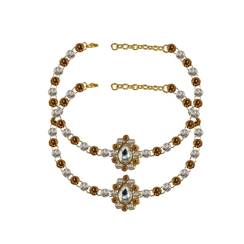 Multi Color Stone Stud-Gold Platted Brass Anklets - ank242