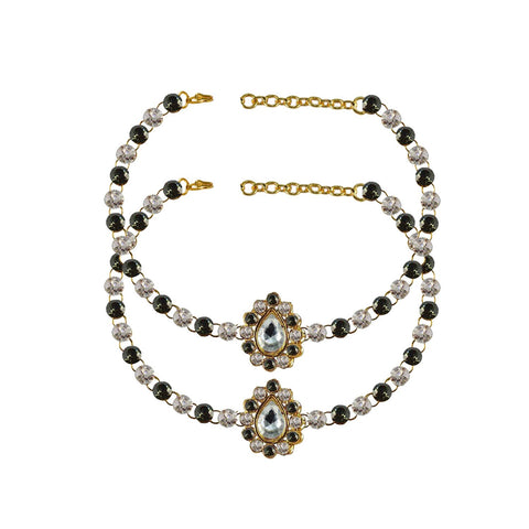 Multi Color Stone Stud-Gold Platted Brass Anklets - ank244