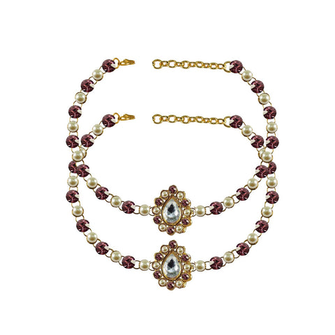 Multi Color Stone Stud-Gold Platted Brass Anklets - ank247
