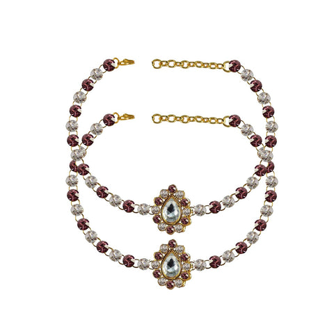 Multi Color Stone Stud-Gold Platted Brass Anklets - ank248
