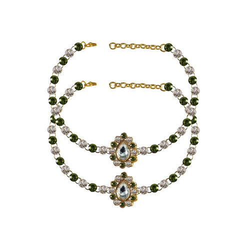 Multi Color Stone Stud-Gold Platted Brass Anklets - ank254