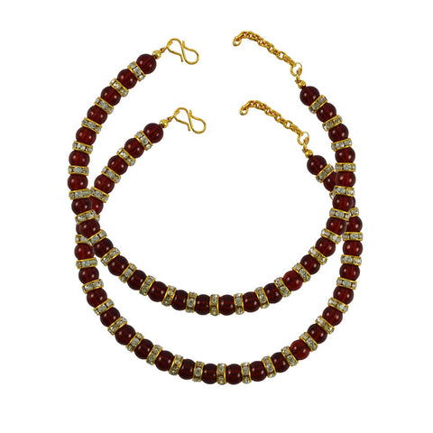 Golden Color Moti Stud-Gold Platted Brass Anklets - ank264