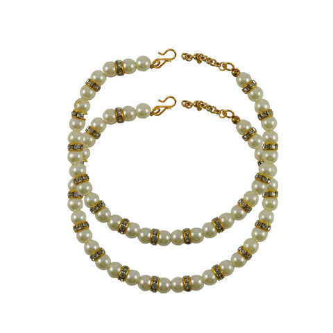 Golden Color Moti Stud-Gold Platted Brass Anklets - ank266