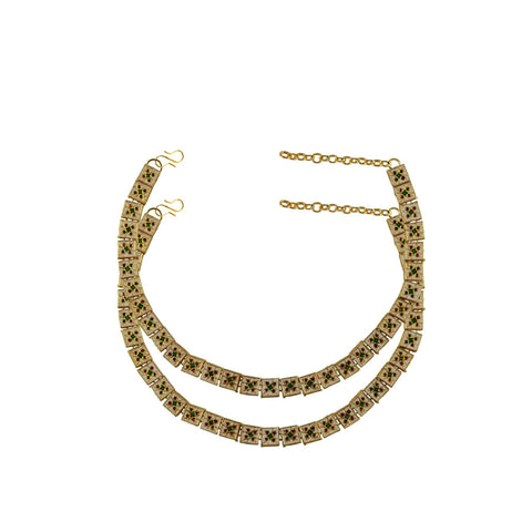 Multi Color Meenakari-Gold Platted Brass Anklets - ank272