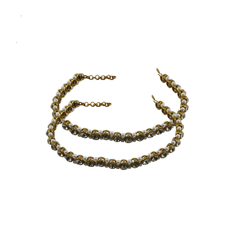 Golden Color Stone Stud-Gold Platted Brass Anklets - ank273