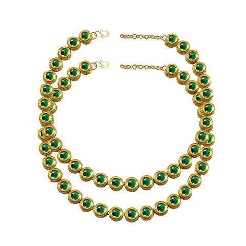 Green Color Kundun Stud-Gold Platted Brass Anklets - ank275