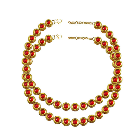 Red Color Kundun Stud-Gold Platted Brass Anklets - ank276