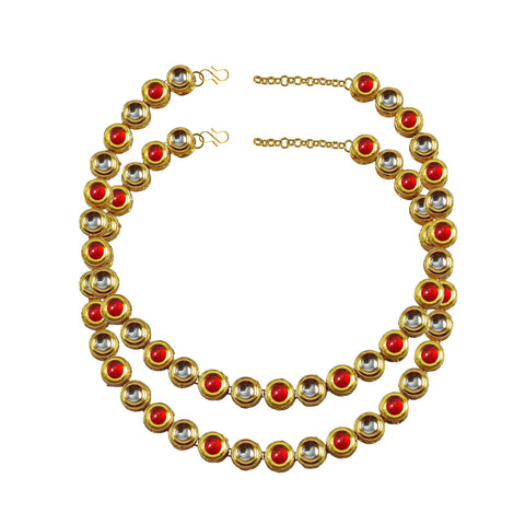 Golden Color Kundun Stud-Gold Platted Brass Anklets - ank277